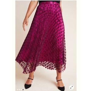 Anthro Phoebe Pleated Midi Skirt